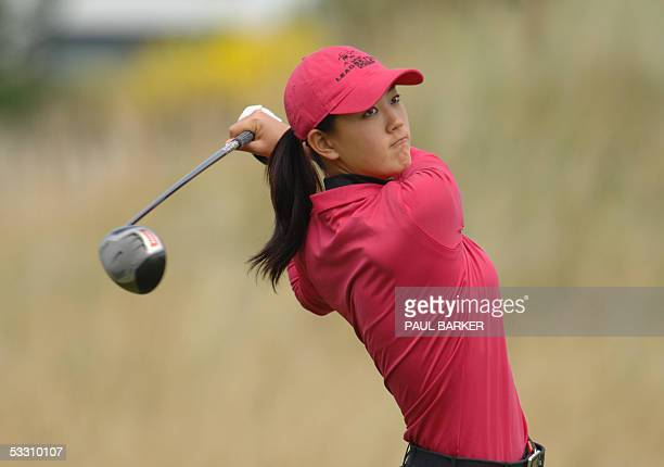 15yearold US player Michelle Wie tees off on the 6th hole on the fourth day of the Women's British Open Golf at Royal Birkdale Golf Club Southport...