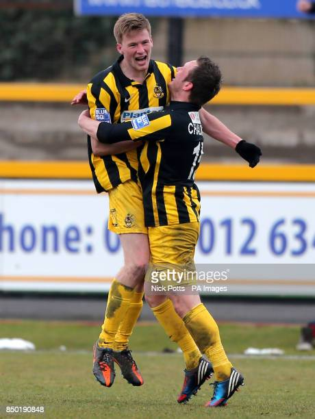 Southport's Danny Hattersley celebrates scoring with Aaron Chalmers