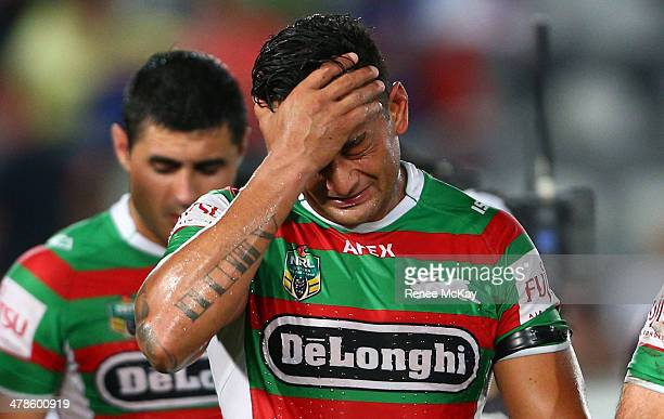 Souths captain John Sutton looks dejected as he leaves the field after the round two NRL match between the Manly Warringah Sea Eagles and the South...