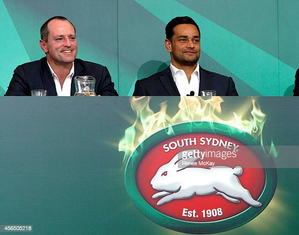 Souths coach Michael Maguire and captain John Sutton smile during the 2014 NRL Grand Final lunch at The Star on October 2 2014 in Sydney Australia