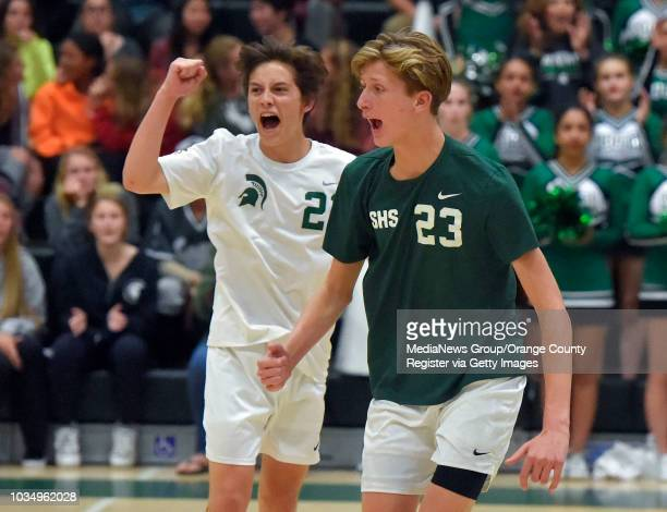 South's Cory Hutchinson left and Connor Oliver celebrate the final point of game 2 in Torrance on Thursday May 11 2017 South vs San Gabriel in...