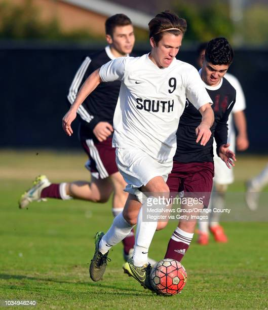 South's John Strauch moves the ball up the field at South High in Torrance CA on Wednesday January 13 2016 South High defeated Pioneer League...