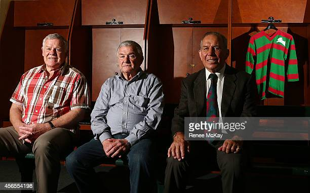 Souths Legends Bob McCarthy George Piggins and John Sattler pose for a photo in the Changing rooms of the SCG during a NRL Grand Final media...