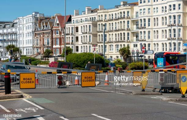 Southsea, Portsmouth, England, The seafront road at the Southsea coastal resort closed to traffic during Covid-19 outbreak.