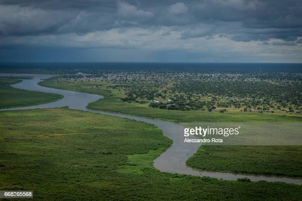 South-Sudan, aerial views of Mingkaman on the White Nile. The village used to be a small rural community which is now becoming a growing town with...