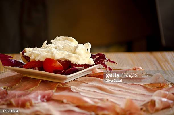 south-tirol speck and horseradish - silvia casali stock pictures, royalty-free photos & images