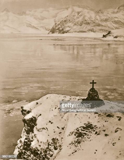 Southward on the Quest, This photograph shows Ernest Shackleton's grave at Grytviken in South Georgia, Antarctica, 1922. Shackleton-Rowett Quest...