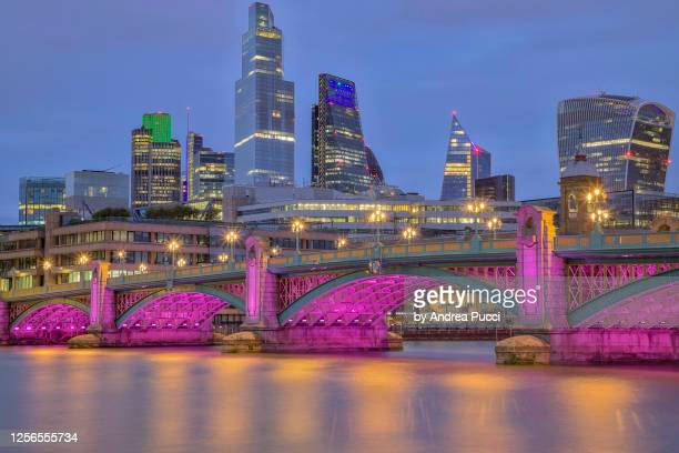 southwark bridge and city of london, london, united kingdom - 2018 stock pictures, royalty-free photos & images