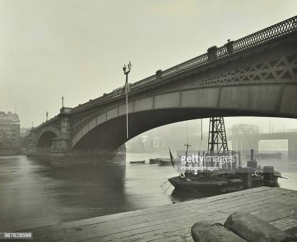Southwark Bridge under repair London 1913 Repair work in progress on the arch nearest to the South Bank Lambeth