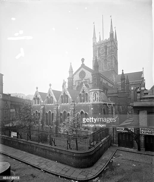 Southwark Cathedral London from the northeast Dedicated to St Saviour and St Mary Overie it is in origin a monastic church The present building dates...