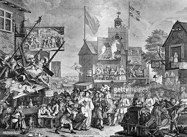 'Southwark Fair' 1733 A crowd is enjoying the festivities in Borough High Street near St George the Martyr Southwark London Among the figures are a...