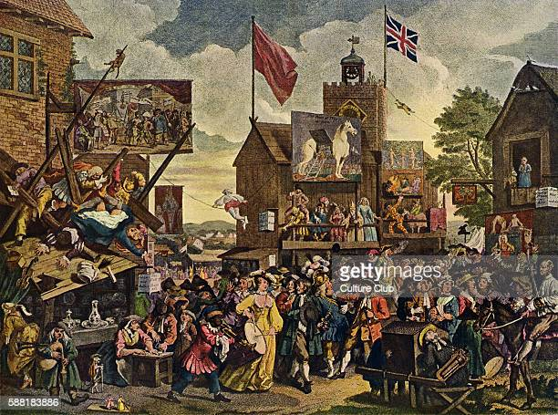 Southwark Fair by William Hogarth January 1733 Originally called Humours of the Fair Fun fair stage with actors performing The Fall WH British artist...