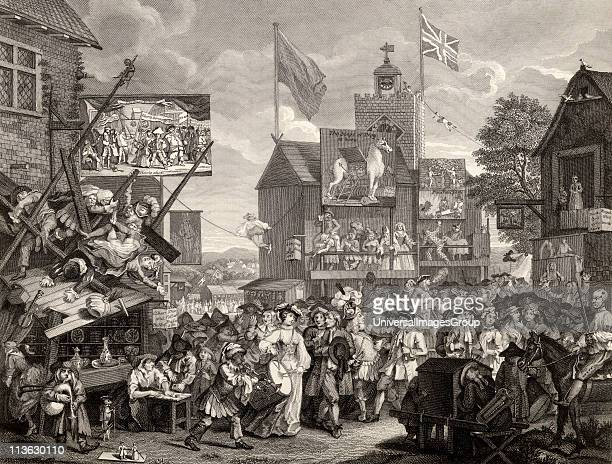 Southwark Fair Engraved by T Phillibronm after Hogarth from The Works of Hogarth published London 1833