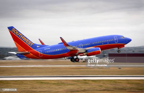 Southwest Airlines Boeing 737 passenger jet takes off from San Antonio International Airport in Texas