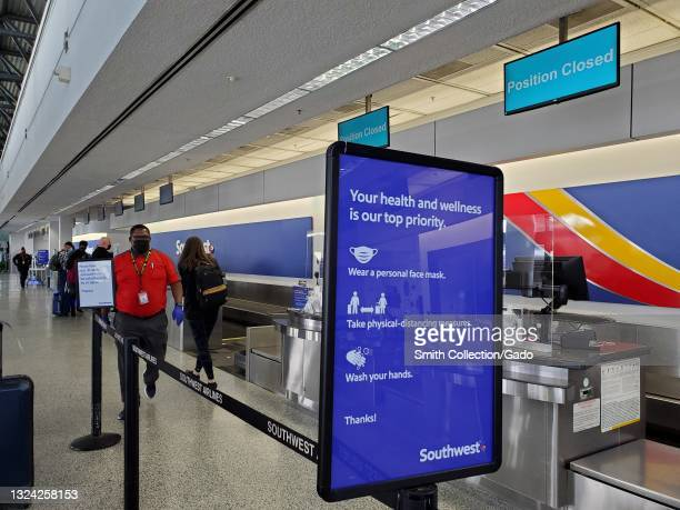 Southwest Airlines check in desk at Oakland International Airport, Oakland, California, May 28, 2021.