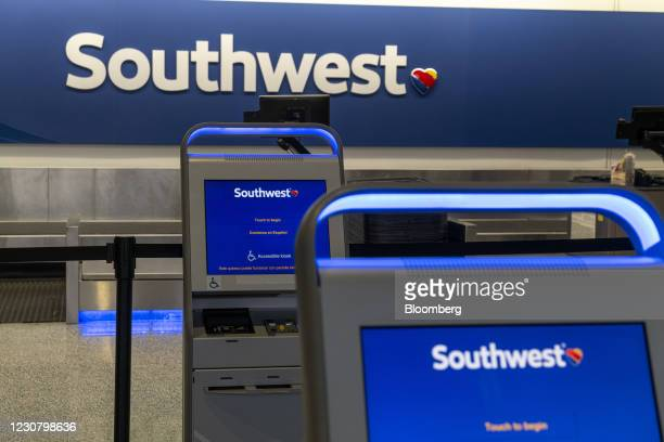 Southwest Airlines check-in kiosks at Oakland International Airport in Oakland, California, U.S., on Tuesday, Jan. 19, 2021. Southwest Airlines Co....