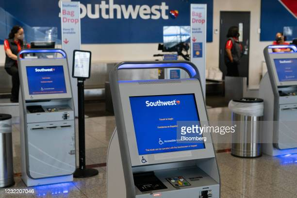 Southwest Airlines Co. Check-in kiosk at Hartsfield-Jackson Atlanta International Airport in Atlanta, Georgia, U.S., on Thursday, April 8, 2021. U.S....