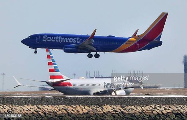 Southwest Airlines flight 1117 from St Louis lands at Boston Logan International Airport on March 13 2019