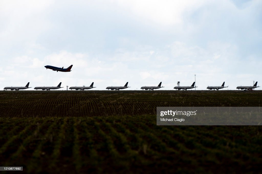 United Planes Sit Parked At Denver International Airport, As The Coronavirus Pandemic Severely Halts Airline Travel : News Photo