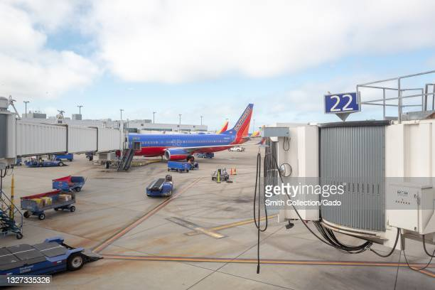 Southwest Airlines jet on tarmac at Oakland International Airport, Oakland, California, May 28, 2021.