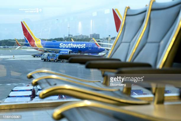 Southwest Airlines plane at Ronald Reagan National Airport in Arlington, Virginia, U.S., on Tuesday, May 25, 2021. AAA Travel's Memorial Day forecast...