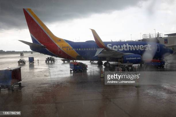 Southwest Airlines plane prepares for departure on July 1, 2021 at the Tampa International Airport in Tampa, Florida.