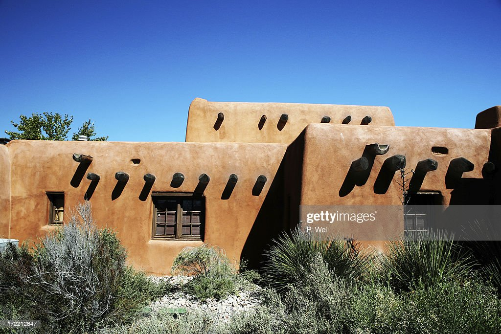 Southwest architecture of a clay hut on a sunny day : Stock Photo
