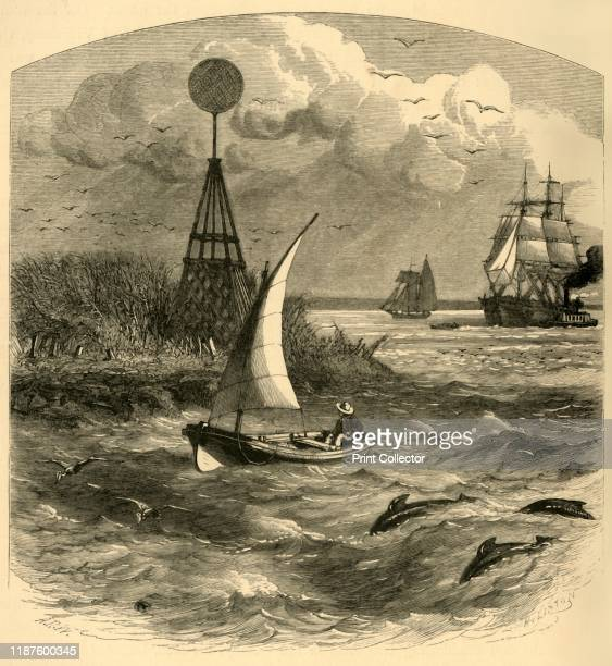 Southwest Pass' 1872 Sailing boat passing a navigation aid on the Mississippi River Delta on the south coast of the USA 'The mouth of the riverwas...