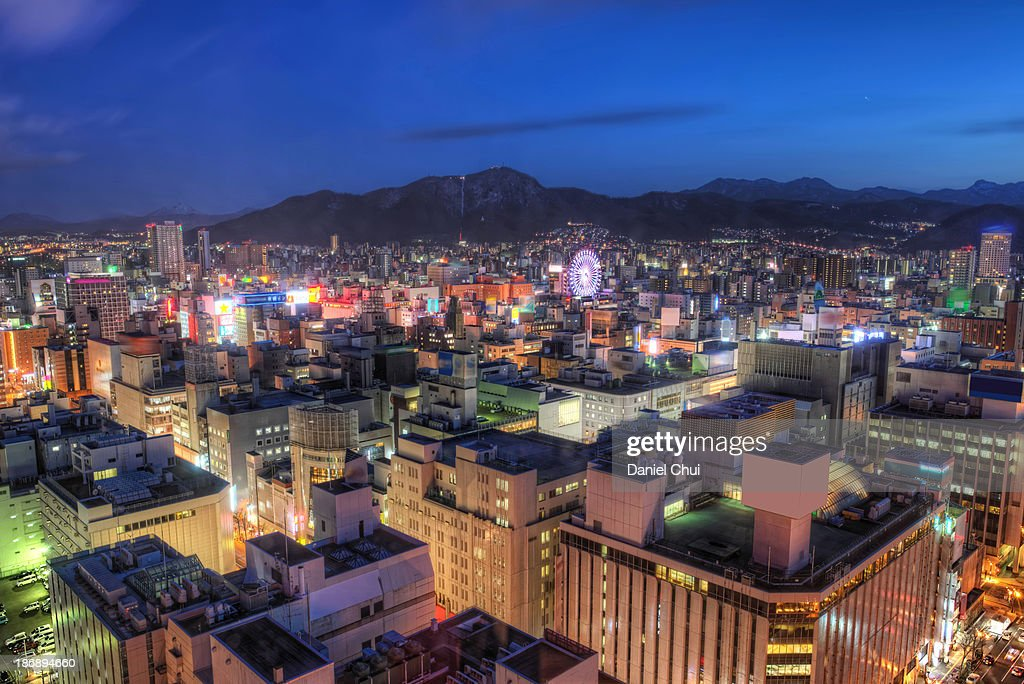 Southwest view of downtown Sapporo : Stock Photo