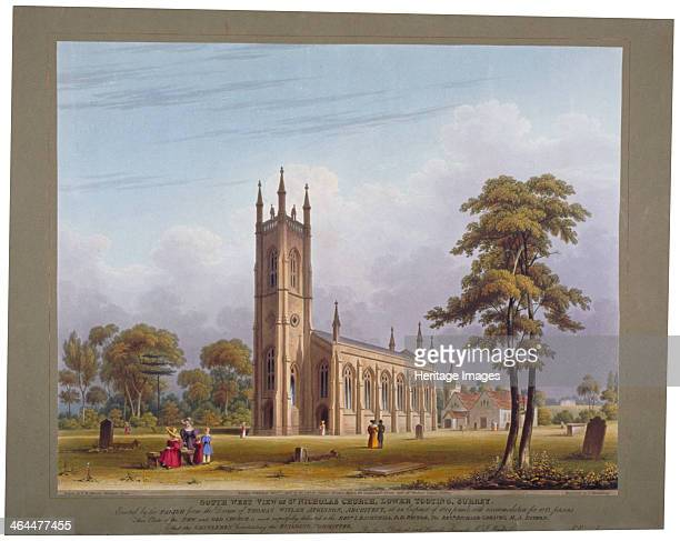 Southwest view of St Nicholas Church Tooting London 1832