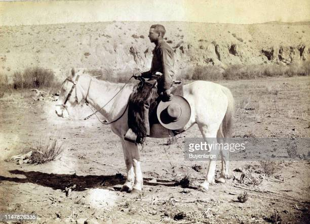 Southwestern Cowboy Wearing Buffalo Chaps, And Armed With A Pearl Or Ivory-Gripped Colt Model 1878 Double Action 'Frontier' Revolver. 'Ed W. Ecker'....