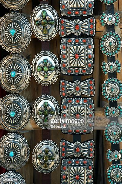 southwestern jewelry in silver and turquoise - silver belt stock pictures, royalty-free photos & images