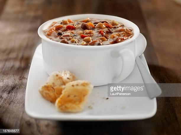 Southwestern Three Bean Soup with Crusty Bread