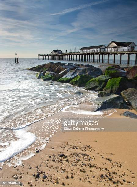 southwold pier and beach - pier stock pictures, royalty-free photos & images