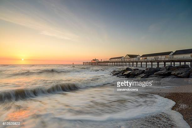 Southwold Pier on the Suffolk Coast, Bathed in Early Morning Sunlight