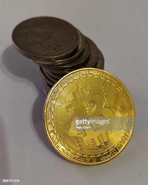 Souvenir bit coin with Australian coins