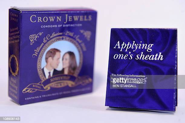 Souvenir box of condoms for the royal wedding of Britain's Prince William and Kate Middleton is pictured in in central London, on February 8, 2011....