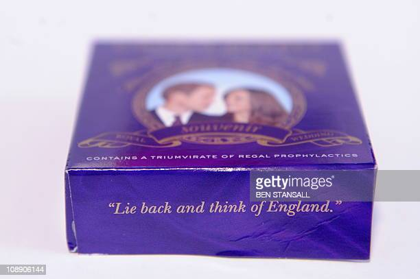 A souvenir box of condoms for the royal wedding of Britain's Prince William and Kate Middleton is pictured in in central London on February 8 2011...