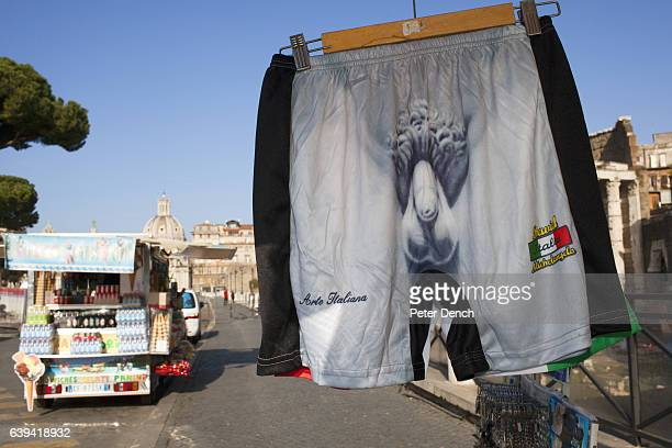 Souvenir boxer shorts on sale in the centre of Rome Located in the central western portion of the Italian peninsula Rome is the capital of Italy and...
