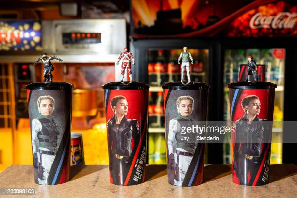 Souvenir drink cups for Marvel Studios Black Widow, at the El Capitan Theatre, on Hollywood Blvd, in the heart of Hollywood, CA, Friday, July 9, 2021.