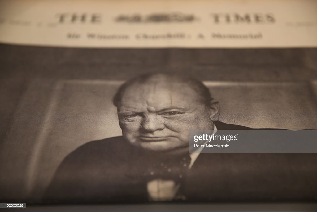 A souvenir edition of The Times from the day of Winston Churchill's state funeral is displayed at Chartwell on January 23, 2015 in Westerham, England. The 'Death of a Hero' exhibition is opening at Chartwell, home of Britain's wartime leader Winston Churchill, to commemorate the 50th anniversary of his death and state funeral in 1965.