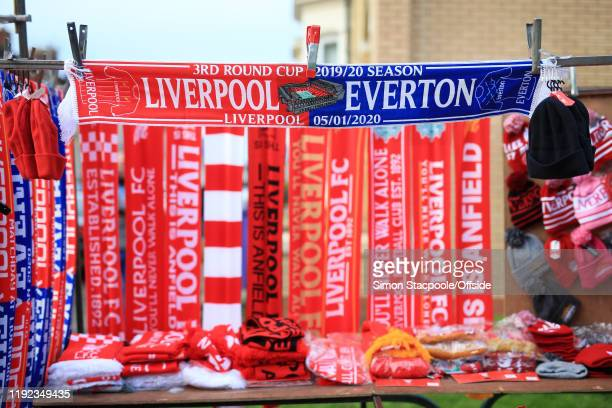 Souvenir halfandhalf scarves for sale before the FA Cup Third Round match between Liverpool and Everton at Anfield on January 5 2020 in Liverpool...