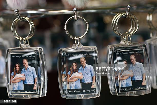 Souvenir key rings celebrating the birth of Prince George of Cambridge are sold in a shop near Leicester Square on August 20 2013 in London England
