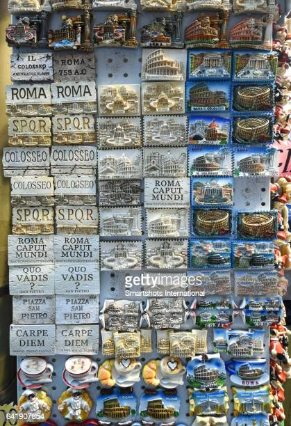 Souvenir magnets of Rome main landmarks for sale in a local flea market in Rome, Italy