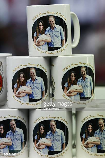 Souvenir mugs celebrating the birth of Prince George of Cambridge are sold in a shop near Leicester Square on August 20 2013 in London England