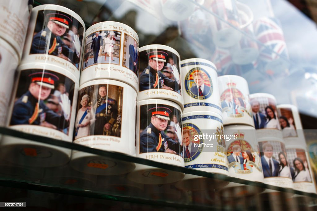 Souvenir mugs of Britain's Prince Harry stand on display in a shop window near Piccadilly Circus ahead of the much-anticipated wedding of Harry to former US actress Meghan Markle, eight days hence, amid a growing sense of occasion in London, England, on May 11, 2018. Sixth-in-line to the throne Harry is to wed Ms Markle in a ceremony at the royal residence of Windsor Castle, on the outskirts of London, on May 19.