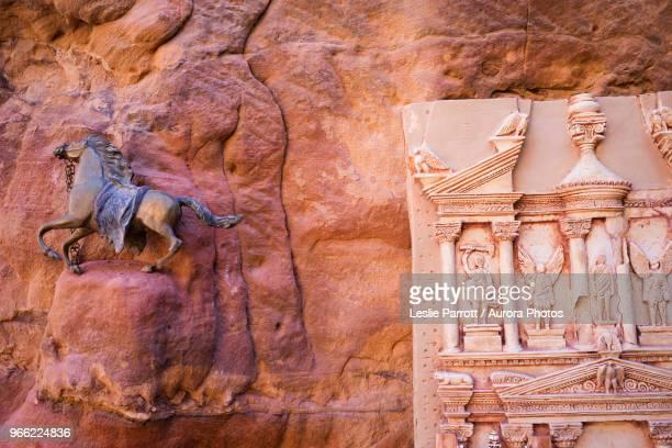 Souvenir of galloping horse and clay miniature of Al-Khazneh (The Treasury), Petra, Wadi Musa, Maan Governorate, Jordan