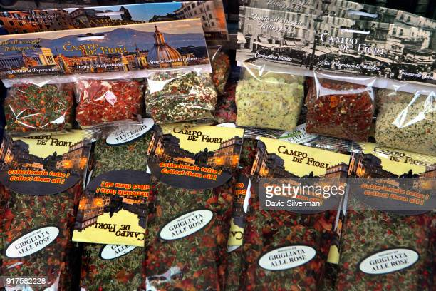 Souvenir packets of herbs and spices on sale at the iconic Campo di Fiori market where in recent years Bangladeshi migrants have taken over most of...