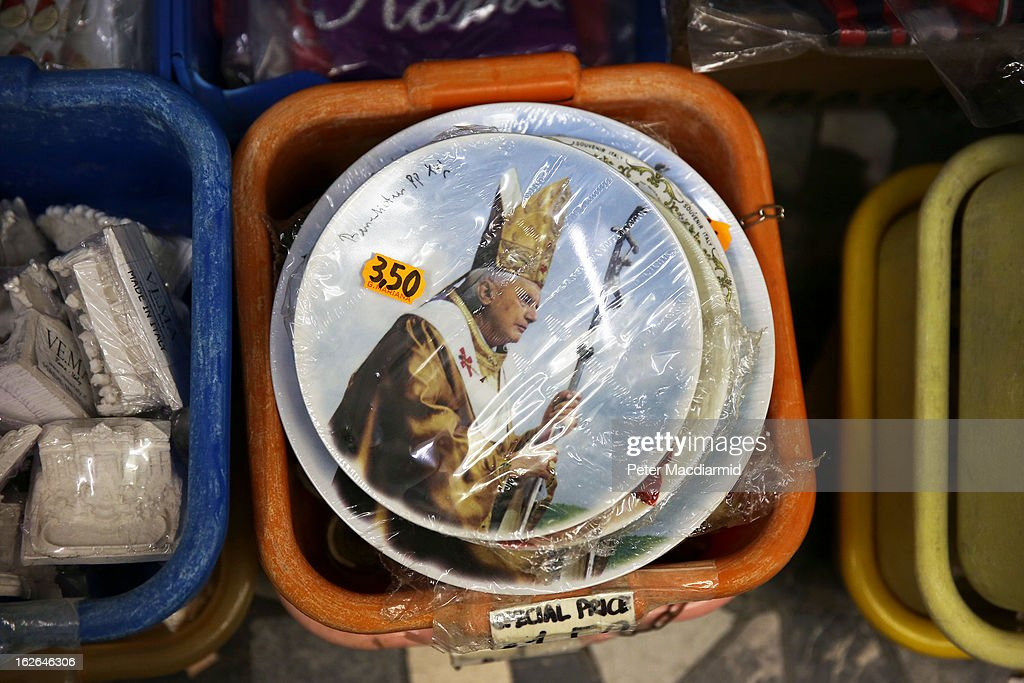 Souvenir plates depicting Pope Benedict XVI are sold on February 25, 2013 in Rome, Italy. The Pontiff will hold his last weekly public audience on February 27, 2013 before he retires the following day. Pope Benedict XVI has been the leader of the Catholic Church for eight years and is the first Pope to retire since 1415. He cites ailing health as his reason for retirement and will spend the rest of his life in solitude away from public engagements