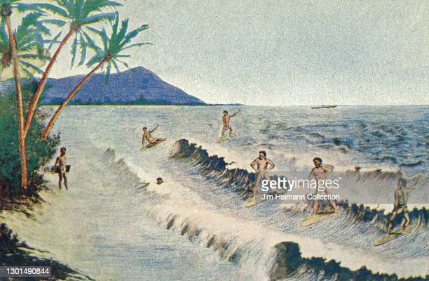 Souvenir postcard features an idealized illustration of a group of native Hawaiian men surfing at Waikiki with Diamond Head in the background, circa...